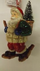 New Santa on Snowshoes With Basket Ornament 963088 Mint with Tag $7.95