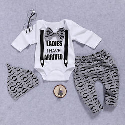Newborn Infant Baby Boys Gentleman Outfit Clothes Romper Tops+Pants+Hat Set US