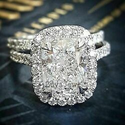 Certified 2.8Ct White Cushion Diamond Engagement Wedding Ring Set 14K White Gold