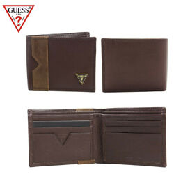 Guess Men#x27;s Brown Leather Billfold Brown Wallet $24.88