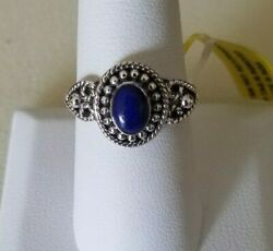 Artisan Crafted Lapis Lazuli 925 Sterling Silver Ring (Size 8) 0.76 Cts