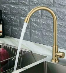 New Only Cold Kitchen Faucet Swivel Spout Single Handle Brushed Gold Tap $37.89