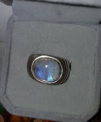 Modernist 3Ctw Moonstone Cabochon Ring Sterling Silver Size 6 Great Colors 12 Gr