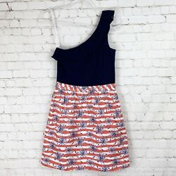 Lilly Pulitzer She's A Firecracker Firework Red White Blue One Shoulder Dress S
