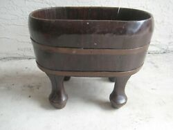 Antique - Primitive Wooden Planter  With Metal Bands