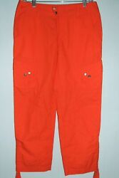 Ralph Lauren Active Cropped Cargo Pants Capri 100% Cotton Orange Women's 16 EUC