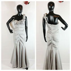 BLONDIE NITES Women's Formal Dress Evening Prom Silver Sequin One Shoulder 7 $58.00