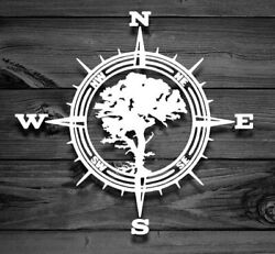 COMPASS TREE Vinyl Decal -Sticker for Jeep Car Truck Bumper Wall Window Flask