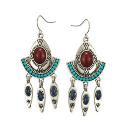 Vintage Turquoise Alloy Fan Pendant Long Creative Fashion Lady Earrings Jewelry
