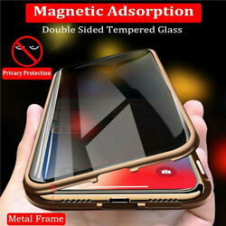 For iPhone X XS 7 8 360° Double Tempered Glass Anti-Spy Privacy Phone Case Cover