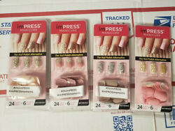 imPRESS NAILS Press-On One-Step Manicure 4 NEW Packages No Glue Needed