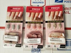 imPRESS NAILS Press-On One-Step Manicure 3 NEW Packages Lot No Glue Needed