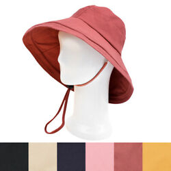 Cotton Foldable Lightweight Wide Brim Fashion Sun Hat w/ Removable Draw Strings $7.99