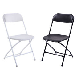 5 10PACK Commercial Wedding Quality Stackable Plastic Folding Chairs White Black