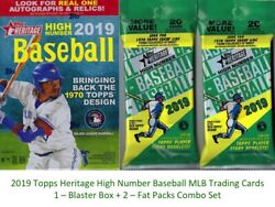 2019 Topps HERITAGE HIGH NUMBER MLB BB Cards 1-BLASTER+2-FAT PACKS Combo Set