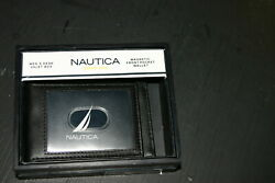 Nautica 31NP160002 magnetic front pocket black wallet with valet box - NEW
