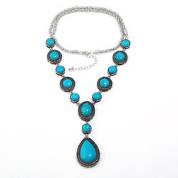 Women's Creative Long Necklace Water Drop Pendant Turquoise Chains Necklace