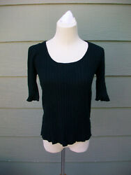George Womens Ribbed Knit Top Sweater Sz S 4 6 Black Rayon Nylon Short Sleeve