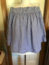 INC Top Navy Blue White Stripe Peasant Off Shoulder 34 Sleeves NWOT Cotton XL