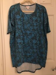 LuLaRoe Irma Tunic XS Blue Brown Marbled Graphic Print NWOT
