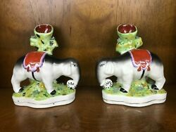 New Staffordshire Pair of Elephant Spill Vases Home Decor Porcelain Matching