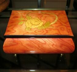 Gorgeous ROMANCE ITALY INLAID MARQUETRY WOODEN JEWELRY MUSIC BOX