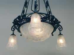 A Spectacular French Art Deco (Ca. 1915-25) Wrought Iron Chandelier Muller Bowl
