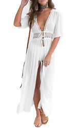 Women's Long Lace Trim Sheer Kimono Wrap Tie Front Duster Beach Cover Up $18.99