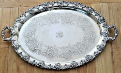 Large Antique EG Webster ORNATE SP BUTLER'S SERVING TRAY Grape Decoration NR