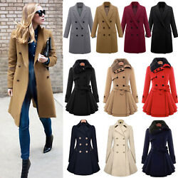 Women Winter Warm Slim Suit Double Breasted Long Trench Coat Jacket Outerwear US