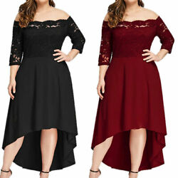Womens Off Shoulder Lace Midi Dress 3 4 Sleeve High Low Party Cocktail Plus Size $34.19