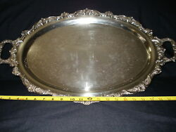 English silver plated on copper 2-handled footed serving butler tea service tray