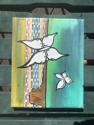 Hand-Painted Art Canvas  Painting Abstract Home Decor Framed -5x7 inches