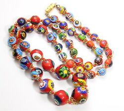 Vintage Art Deco Graduated Hand Knotted Red Millefiori Art Glass Bead Necklace