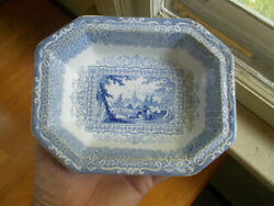 1850s BLUE STAFFORDSHIRE CHINA GIPSY PATTERN 8 SIDED SERVING BOWL 7 12