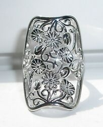 .925 Sterling Silver Women's Ring Large Extravagant Flowers Sizes 8-13