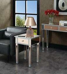 Glam Rose Mirrored Furniture Bedroom Nightstands Silver End Table Crystal Knob $180.93