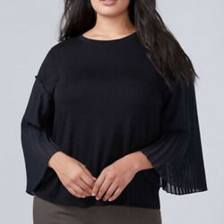 Lane Bryant Solid Black Sheer Pleated Sleeve Crew Neck Blouse Plus Size 2628