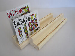 Wooden Playing Card Holder Rack  Two Levels  Set of two