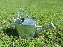 WATERING CAN Old NOSTALGIC Galvanized METAL Silver LAWN ORNAMENT Planter LIKE NU