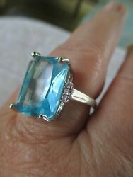 SKY BLUE 5 CARAT FACETED CRYSTAL SILVER TONE SIZE 8 RING