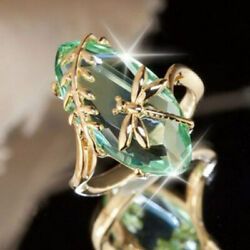 Creative Women Gold Plated Dragonfly Peridot Ring Wedding Jewelry Gift Size 6-10