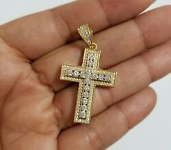 14k Yellow Gold Over Sterling Silver Cz Cross Charm Pendant