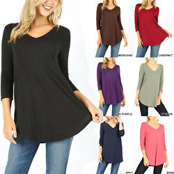 Womens 3 4 Sleeve T Shirt V Neck Casual Basic Tunic Top Long Loose Blouse $12.95