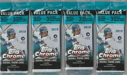 (4) 2019 Topps CHROME MLB Baseball Trading Cards 15c. VALUE PACK LOT = 60 cards