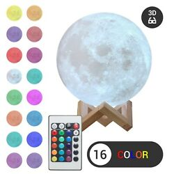 3D Moon Night Light Table Lamp USB Charging Touch Control Home Decor Gift 18cm