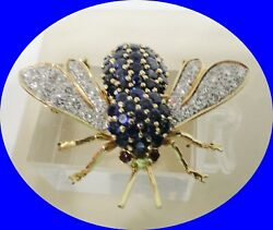 100% VINTAGE 14KT GOLD AUTHENTIC DIAMOND & SAPPHIRE WASPBEE PIN BROOCH!!