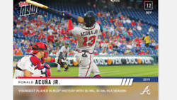 2019 TOPPS NOW CARD ATLANTA BRAVES RONALD ACUNA JR #833 YOUNGEST 35 HRs 35 SBs