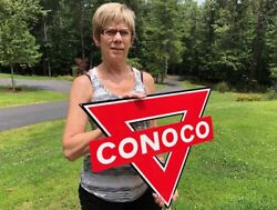 OLD STYLE CONOCO TRIANGLE GAS & OIL DEALER STEEL SIGN USA MADE MINT