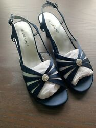 David Tate Womens Rosette Navy Ankle Strap Heels Size 8